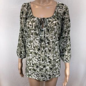 Maurice's semi sheer blouse Sz M gray  white lace